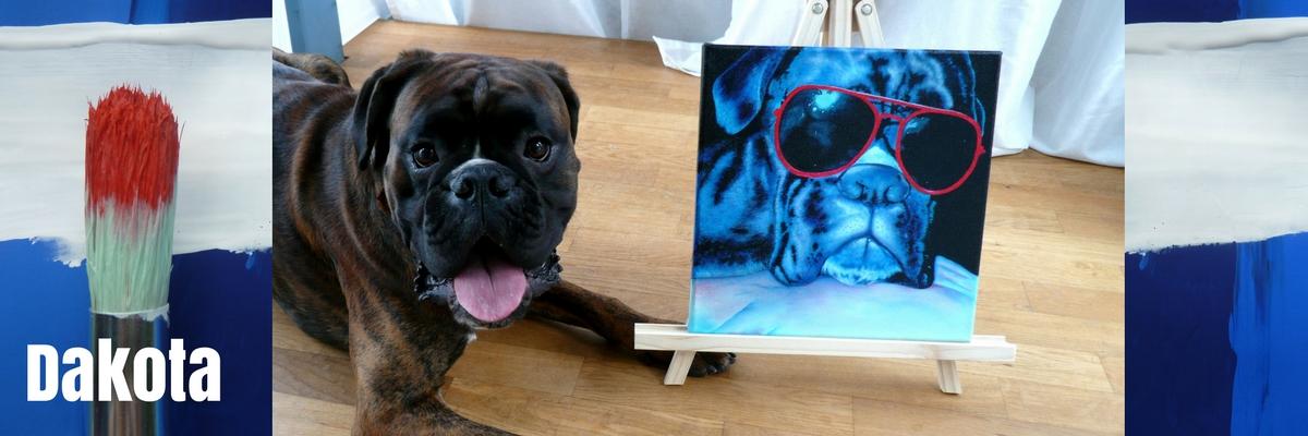 Hundeportrait auf Leinwand von Jacqueline Kuhn alias JacquiHirsch