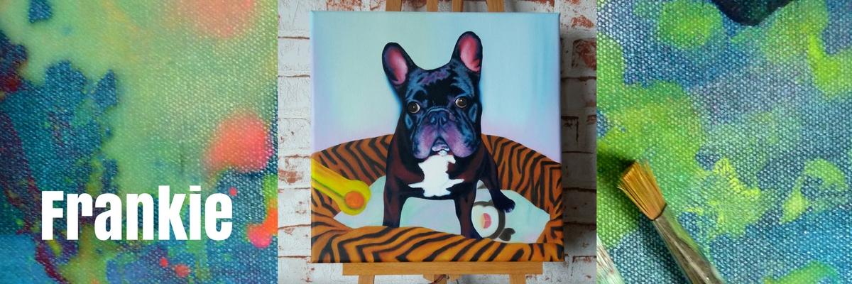 Tierportrait auf Leinwand von Jacqueline Kuhn alias JacquiHirsch