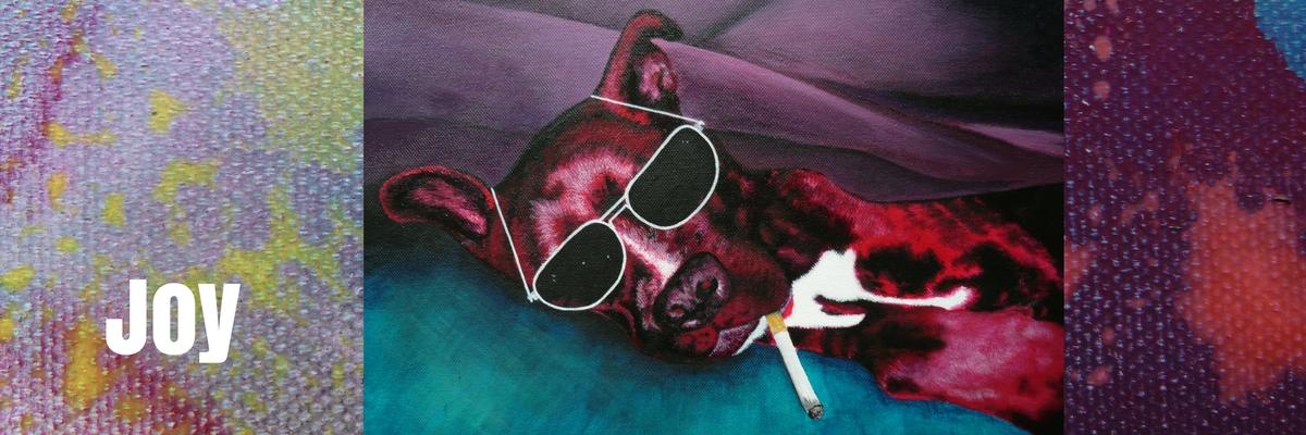 Hundeportrait in Acryl auf Leinwand von der Künstlerin JacquiHirsch