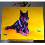 Hundeportrait Working Kelpie in Öl von Jacqueline Kuhn alias JacquiHirsch