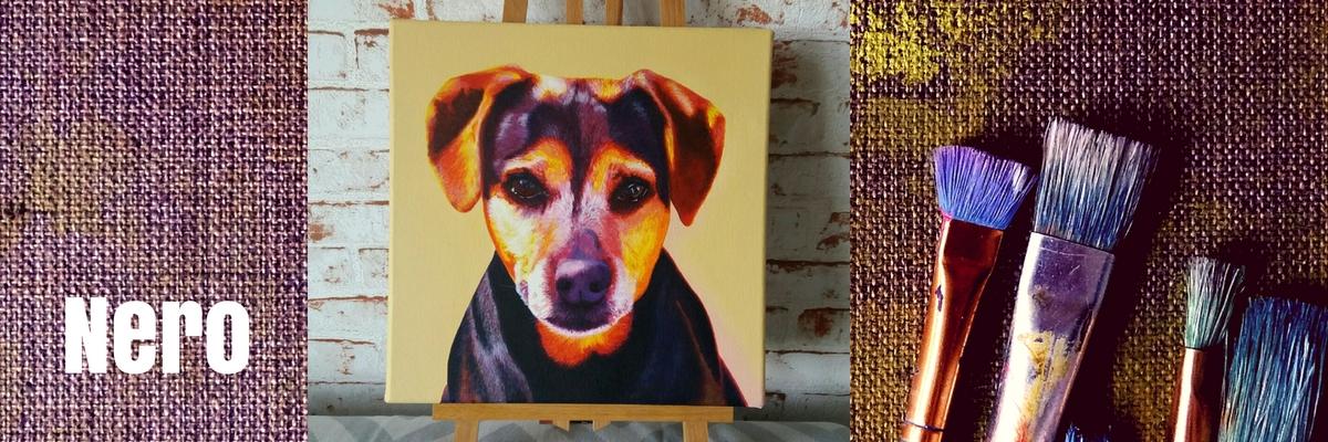 Tierportrait in Acryl auf Leinwand von Jacqueline Kuhn alias JacquiHirsch