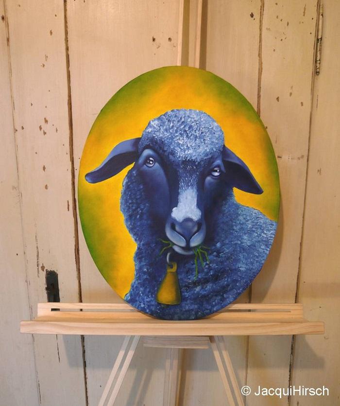 Erwin das blaue Schaf Ölmalerei von JacquiHirsch