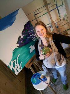 JacquiHirsch mit Willi Mo malend im Atelier Leben